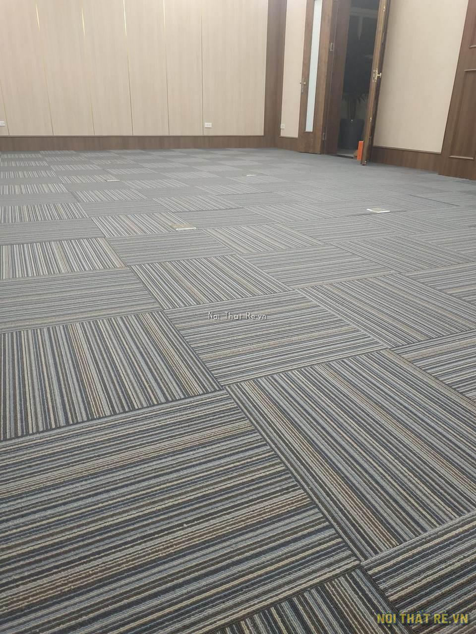 thảm tấm ghép kẻ sọc màu xanh vàng