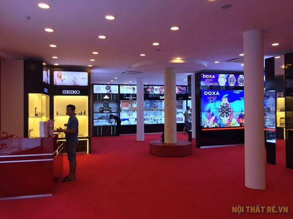 cửa hàng bán đồng hồ hải triều sử dụng thảm trải sàn màu đỏ